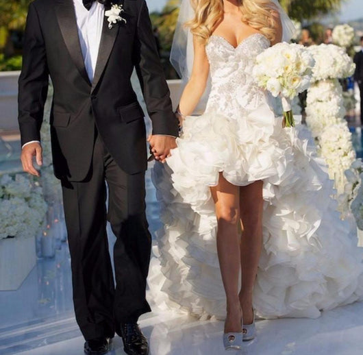 Sweetheart High Low Wedding Dress at Bling Brides Bouquet online Bridal Store