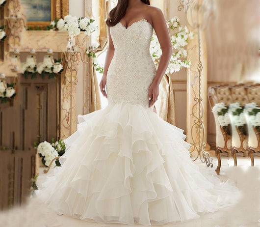 Lace Ruffled Plus Size Wedding Dresses  at Bling Brides Bouquet online