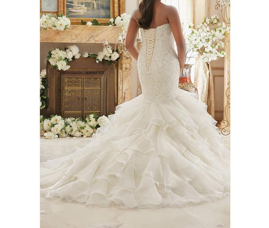 Lace Ruffled Plus Size Wedding Dresses At Bling Brides