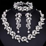 Wedding Pearl Jewelry Sets with Crystals Gold or silver Plated Necklace Earrings Bracelet set