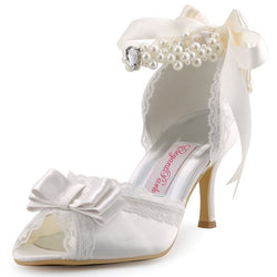 Ivory or White High Heel Pearls Ankle Strap Peep Toe Bow Satin Ladies Bridal Pumps
