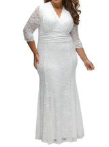 V-neck Plus Size Lace mother of the bride dress at Bling Brides Bouquet - Online Bridal Store
