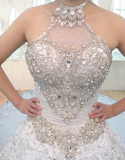 A-line Wedding Dresses High Neck Beaded Crystal Wedding Gown