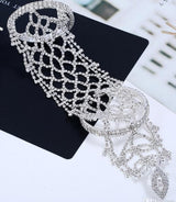 Crystal Bridal Hand Chain  Silver Wedding hand Arm Chain