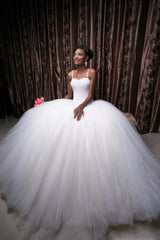Luxury Pearls African Wedding Dresses Ball Gown  at Bling Brides Bouquet - Online Bridal Store