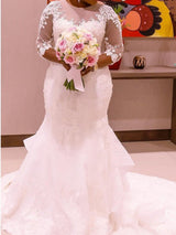 Plus Size Wedding Dress ,Elegant Lace Crystal Mermaid Wedding Dresses