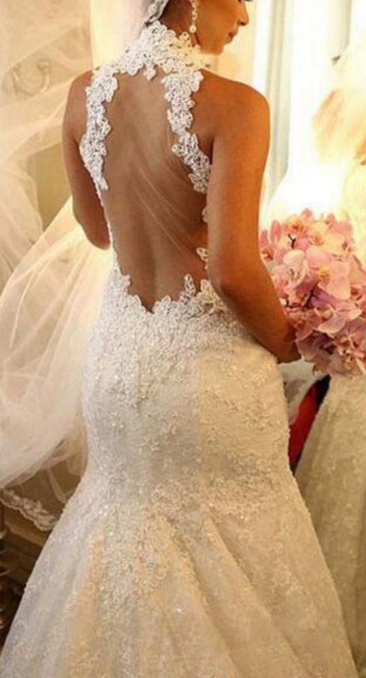 Sexy Wedding Dress, Mermaid Wedding Dresses, High Neck Wedding Dress