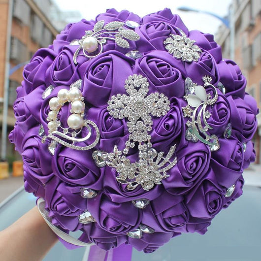 Wedding Flowers Online.Purple Wedding Bridal Bouquets Satin Crystal Wedding Bouquet With Bling