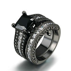 Black topaz & Clear Crystal Bridal Rings Sets Black Gold Color wedding jewelry set