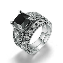 Black Topaz diamond  and crystal Black Gold Filled Bridal Engagement Wedding Ring set
