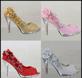Sparkling Open Toe Wedding Shoes, High heel bridal pumps