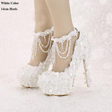 Bling Bridal Shoes High Heel Platform Lace Sequined Vintage Tassel Wedding Shoes