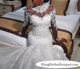 Bling Bling Satin Mermaid Wedding Dress with Crystals Beaded Sheer Long Sleeves