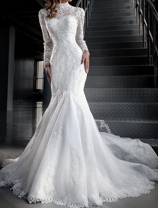 Lace Wedding Dress With Sleeves.Mermaid Lace Wedding Dresses With High Neck Long Sleeves At Bling Brides Bouquet