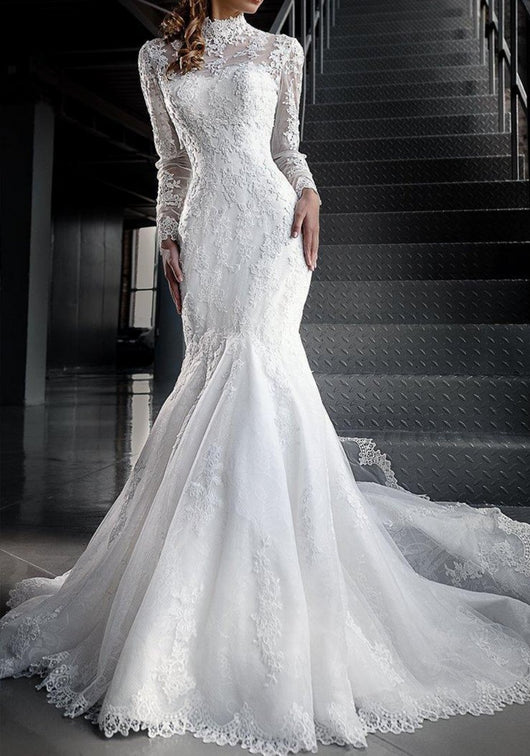 Mermaid Lace Wedding Dresses with High Neck Long Sleeves at Bling Brides Bouquet