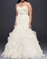 Organza Plus Size Mermaid Wedding Dress With Lace-Up Back Ruffled Skirt