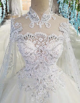 Vintage Lace A-Line Wedding Dresses  Long Sleeves Long Train For Bride