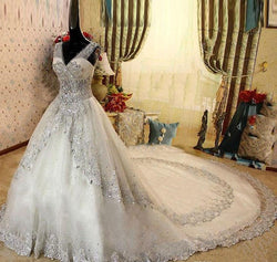Bling V Neck Wedding Dresses Bridal Gown With SWAROVSKI Crystals