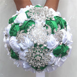 Bling Satin Rose Bridal Wedding Bouquets Crystal Bridal Bouquets
