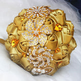 Gold Silk rose Bridal Bouquets Rhinestone Crystal wedding Bouquet