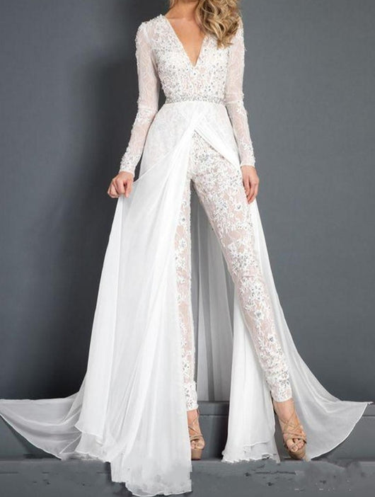 Lace Chiffon Wedding Dress Jumpsuit Beaded Beach V neck Bridal Gown