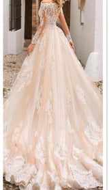 Long Sleeves Detachable Train  Mermaid Lace Wedding Dresses