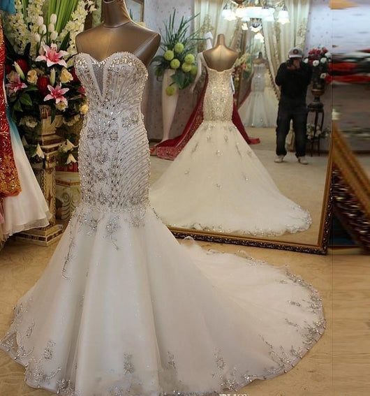 Bling Crystal Mermaid Wedding Dresses Vintage Beading Bridal dress