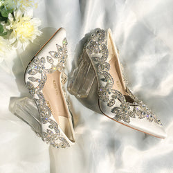 Bling Crystal Wedding Shoes Clear Square Heels Satin Silk Pumps