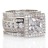 AAAAA zircon cz ring 925 Sterling Silver Women Engagement Wedding Band Ring set