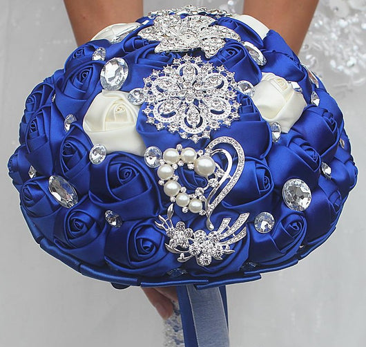 Lampwork-Beadscape-Bride with flowers-Royal Blue and white