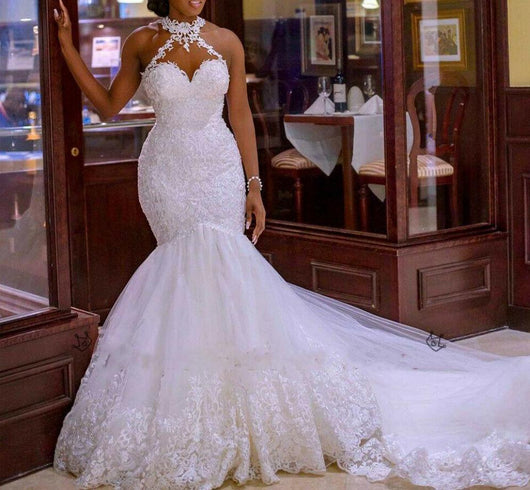 Elegant Lace Vintage Beaded Wedding Dress Mermaid Bridal Dress