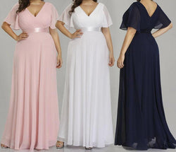 Plus Size Wedding Dress Ever Pretty  Simple A-line Chiffon V-neck dresses