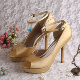 Satin Bridal Sandals Ankle Strap Bridal Heels at Bling Brides Bouquet online bridal store
