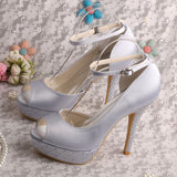 Wedding Shoes Crystal Bridal Sandals With Ankle Strap at Bling Brides Bouquet Online Bridal Store