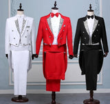 Mens Classic wedding Tuxedo Grooms Print wedding suit with tail coat