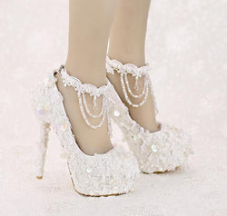Bling Bridal Ellegant Lace Sequined Wedding Shoes