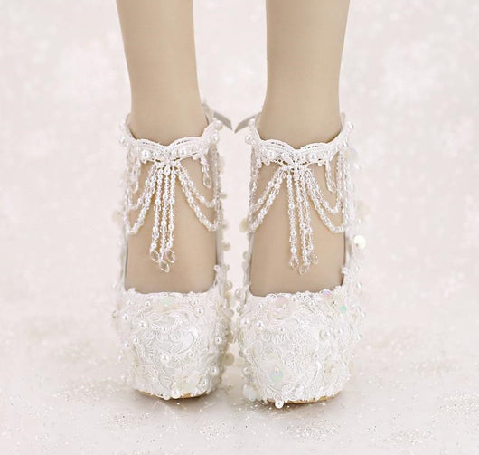 Wedding Dress Shoes.Bling Bridal Shoes High Heel Platform Lace Sequined Vintage Tassel Wedding Shoes