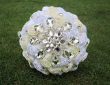 Rhinestones Wedding Bouquet Satin Crystal Bouquet Custom Wedding Bouquet