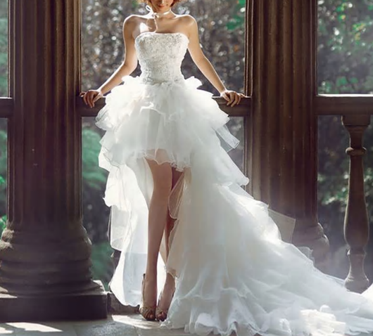 Hi Low Wedding Dress with Lace Up Back  Organza Lace Wedding Gowns