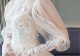 Vintage Long Sleeve Wedding Dresses High Neck Open Back Wedding Gown