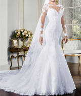Long Sleeve Mermaid Wedding Dress Bridal Gowns with Lace Appliques