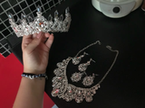 Bling Bridal Jewelry Sets Silver Crystal Tiaras Necklace Earring Set