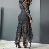 Vintage Party Lace Long Dress  Women Hollow Body con Maxi Dress