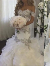 Bling Crystal Mermaid Wedding Dresses Ruffle Tiered Off Shoulder Wedding Gown
