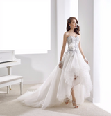 Exquisite Custom Made High Low Wedding Dresses Sweetheart Organza Short Front Long Back Bridal Gowns