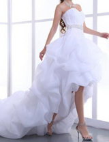 High Low Wedding Dress Organza Sweetheart Coset Back  Bridal Gowns at Bling Brides Bouquet