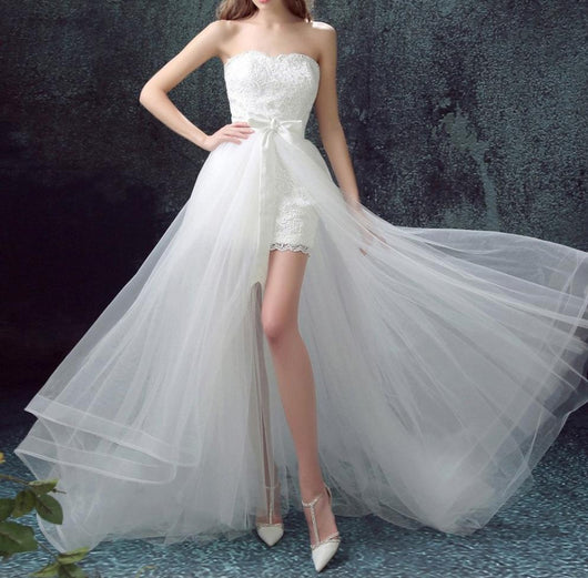 High Low Wedding Dress With Detachable Skirt At Bling Brides Bouquet