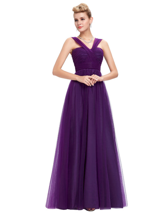 Purple Elegant Formal Evening Gown Bridesmaid Dress at Bling Brides Bouquet online bridal store