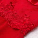 Lace Embroidery Red Baby Doll Sexy Lingerie Women Solid V-Neck Transparent  Lingerie