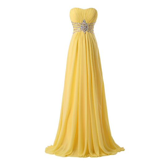 Yellow Chiffon Prom Gown at Bling Brides Bouquet online bridal store